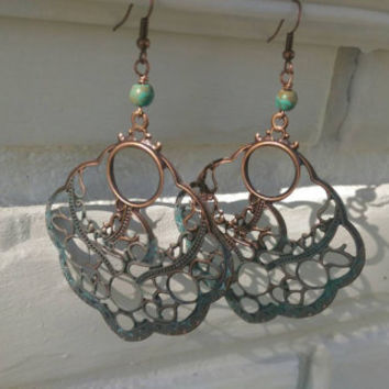 Antique Copper Filigree Earrings, Blue Patina, Handmade Jewelry, Beautiful Earrings, Gift for Her, Fall Fashion Accessories