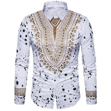 Fashion Floral Print African Men Clothing Men's Shirts