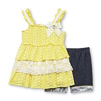 Little Lass Infant & Toddler Girl's Tunic & Shorts - Floral & Lace