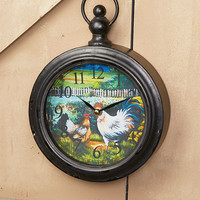 Farmhouse Wall Clock Country Kitchen Cow Chicken Horse Barnyard Scene