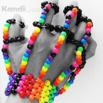 Rainbow Kandi Fingerlets Bead, Rave Wear for Music Festivals