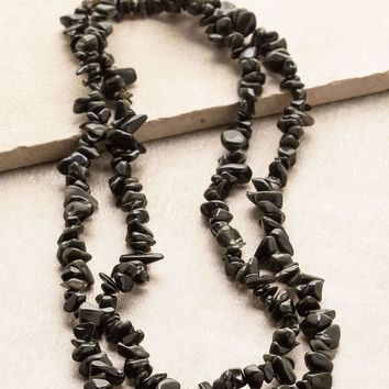Black Obsidian Gemstone Chip Necklace