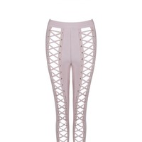 Honey Couture ZIA Pink Crop Top and Pant Bandage Set