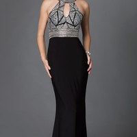High Neck Open Back Prom Dress with Illusion Bodice