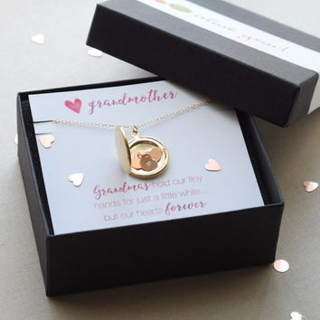 Grandmother Locket Necklace with Tiny Personalized Hearts - Gold or Silver 1361