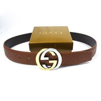 Perfect GUCCI Woman Fashion Smooth Buckle Belt Leather Belt