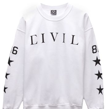 Civil Regime - Lindsay Lohan Crew Fleece - Mens Hoodie - White