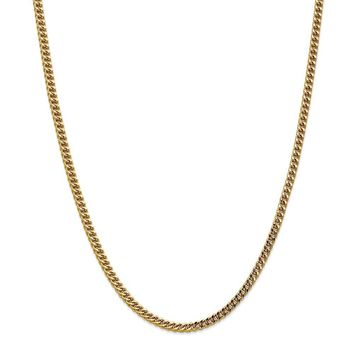 14K Yellow Gold 3.7mm Hollow Franco Chain 20 Inch