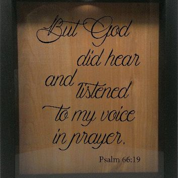 "Wooden Shadow Box Wine Cork/Bottle Cap Holder 9""x11"" - But God did hear and listened"