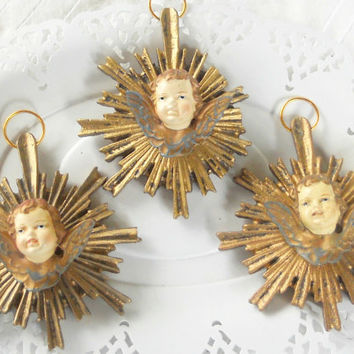 Vintage Set of 3 Victorian Angel Christmas Tree Ornaments, Renaissance, Holiday Decor, CIJ