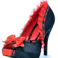 ELLIE Black & Red Peep Toe Ruffle Libera Heels - Unique Vintage - Cocktail, Pinup, Holiday & Prom Dresses.