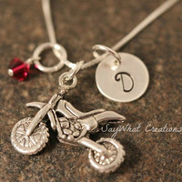 Sterling Silver Mini Initial Hand Stamped Dirt Bike Charm Necklace