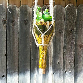 Wine Bottle Macrame Plant Hanger/Upcycled Hanging Planter/Hippie Boho Decor/Bohemian/1960s
