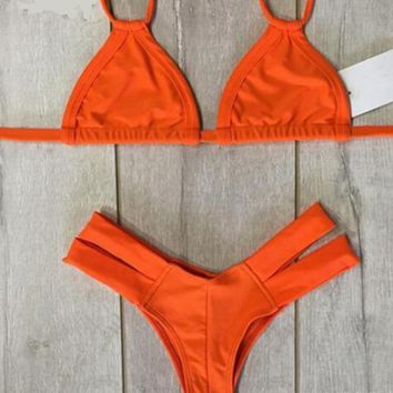 CUTE ORANGE TWO STRAPS TWO PIECE BIKINIS