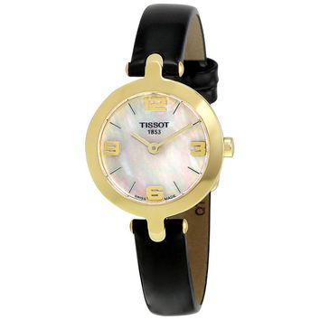 Tissot T-Trend Flamingo Mother of Pearl Dial Black Leather Ladies Watch