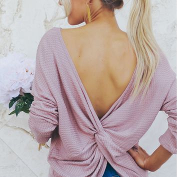 Knot Long Sleeve Top Mauve