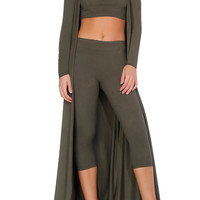 Mila Suede Capri Two Piece - Olive