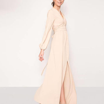 Nude evening gown, beige evening dress, bridesmaid dress,prom dress,cocktail dress,formal dress,maxi dress, long sleeves maxi dress.Kuppers