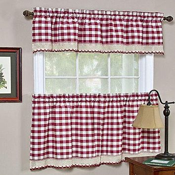 Ben&Jonah Collection Buffalo Check Window Curtain Tier Pair - 58x24 - Burgundy