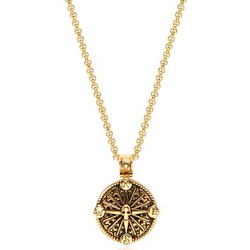 Men's Necklace with Gold Compass