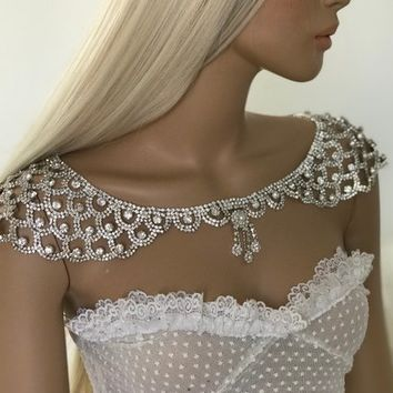 Bridal Dress Shoulder Necklace, Rhinestone Shoulder Necklace, Wedding Shoulder Jewelry, Bridal Crystal Shoulder Bridal Straps Bolero