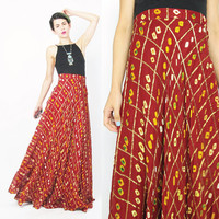 Vintage Indian Maxi Skirt Dark Red Traditional Indian Wedding Sari Skirt Gypsy Boho Hippie Festival Skirt Metallic Gold Tie Dye Skirt (L)