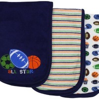 Gerber Baby-Boys 4 Pack Terry Burpcloths Sports,Blue,One Size
