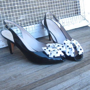 Vintage Black Patent Leather Heels with Polka Dot Bows - Made in Italy Retro Polka Dot Bow Pumps; 7M - Dotty Bow Black Patent Mules