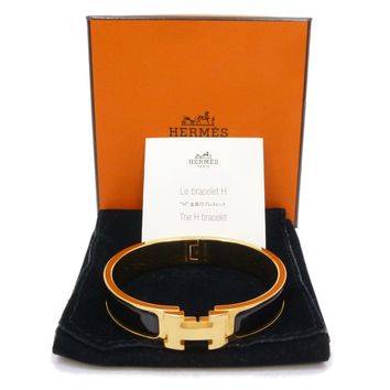 Auth HERMES Clic Clac PM Enamel Black Gold Tone Brass Bangle Bracelet #S109035
