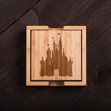 Wooden Coasters, Disney Castle Wood Burned Custom Bamboo Wedding gift for Couple, Shower, Corporate Gift Kitchen Decor #5024