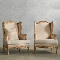 Amazing Pair of Bright Gilt Louis XV Style Wing-Back Bergeres