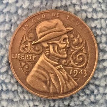 HAND CARVED Hobo Nickel 1943 Lincoln Penny COIN RARE