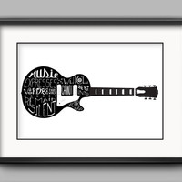 "Printable Victor Hugo Guitar Poster - ""Music expresses that which cannot be put into words and that which cannot remain silent."""