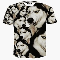 Cartoon t shirt 3d animal/pug dog print t-shirt harajuku tshirt homme size M -XXL