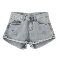 Washed Denim Shorts with Frayed Edge in Grey