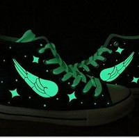 EXO Harajuku Galaxy luminous wings sneakers,EXO shoes,galaxy vans shoes