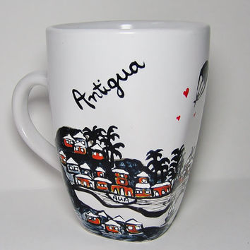 Long Distance Relationship, Antigua, Skyline Mugs w/ hearts Cityscape, Skydiver, Personalized Mug,