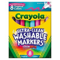 Crayola® Washable Markers, Conical Point, Tropical Colors, 8/Set