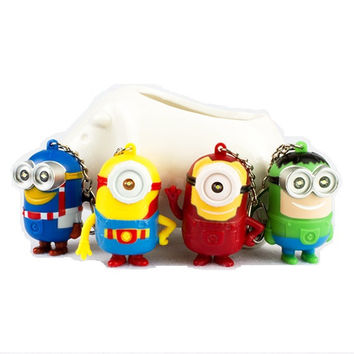 The Avengers Minions LED Flashlight Keychain Talk Press Button