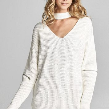 Ivory Choker Knit Sweater