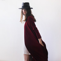 Knitted maxi red cardigan with pockets SALE