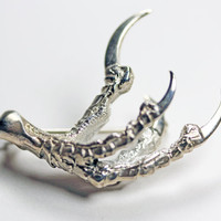 Nevermore brooch. High polished sterling silver.