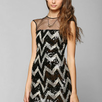 Dress The Population Aubrey Chevron Sequin Dress - Urban Outfitters