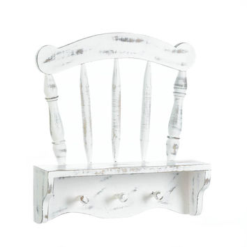 Wall Decor Shelf-White Distressed Wood Chair Back