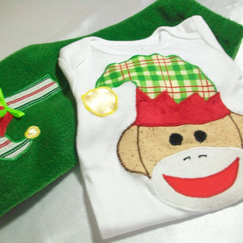 Christmas Baby Clothes - Holiday Baby Outfit - Sock Monkey Baby Clothes - Elf Sock Monkey