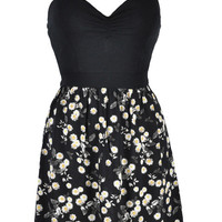 Black Floral Print Spaghetti Strap Dress