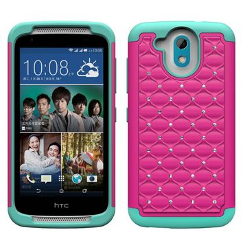 HTC Desire 526 Rhinestone Case , Slim Hybrid Dual Layer[Shock Resistant] Crystal Rhinestone Studded Case Cover - Hot Pink/Teal