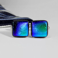 Fused Dichroic Glass Cufflinks, Teal Green and Blue Tie Dyed on Black