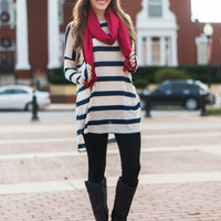 Stripe On By Top, Navy/Gray