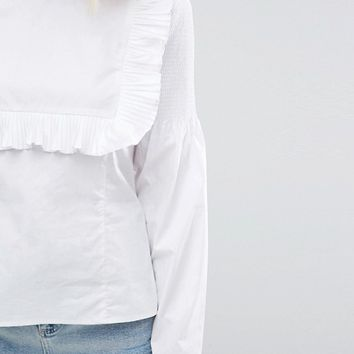 Lost Ink Bib Top With Frill Front at asos.com